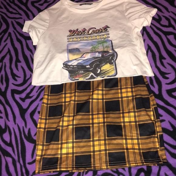 BRAND NEW SHEIN skirt- crop top set
